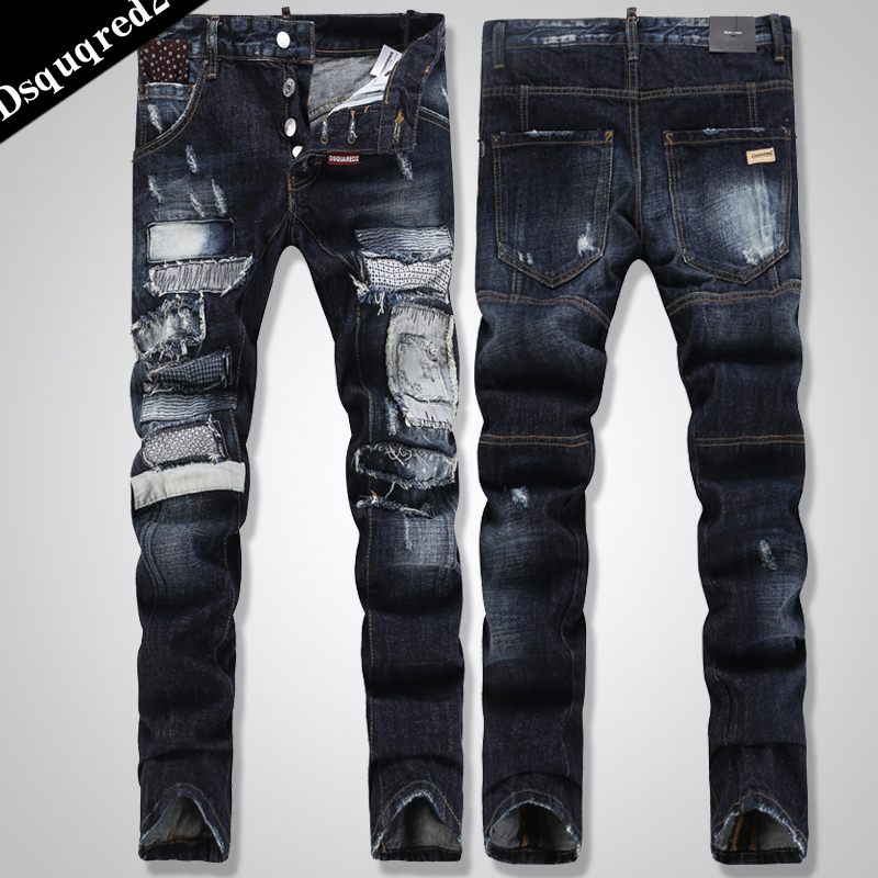Distressed Skinny Jeans from Dsquared2: Blue Distressed Skinny Jeans with belt loops, five pocket design, rear logo patch, ripped details, whiskering at the thigh, turn-up .