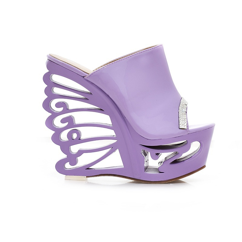 ARMOIRE Brand New Unique Novelty Women Platform Sandals Slides Black White Purple Ladies Sexy Shoes Cut off High Heels AXY76-1(China (Mainland))