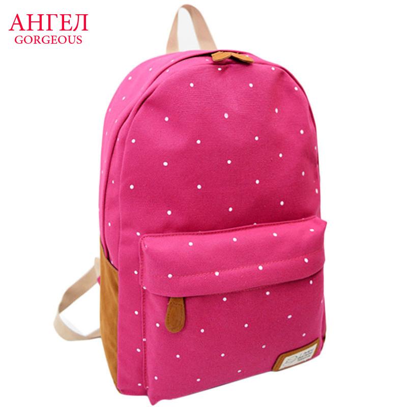 women backpack 2015 Fashion Shoulder Bag Women Canvas Bag Polka Dot Schoolbag Mochila Rucksack Travel backpack mochila feminina(China (Mainland))