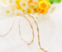 High quality 18K real gold plated twisted franco chain for men women 24inches 1.7mm 5g gold necklace & pendant(China (Mainland))