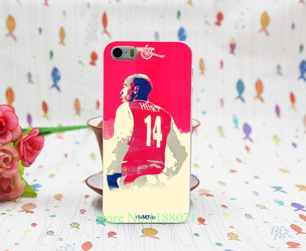 henry legend Arsenal Henry of Premier League football Hard Clear Skin Case Cover for iPhone 4 4s 7 7 Plus 5 5s 5g 1PC(China (Mainland))
