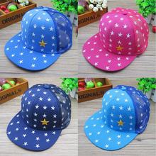 Boys Girls Five Stars Embroidery Baseball Cap Kids Summer Adjustable Mesh Cap Snapback Caps Hip Hop Flat Brim Hats Free Shipping(China (Mainland))