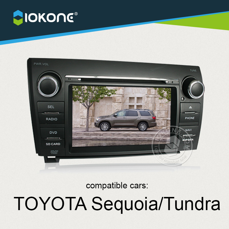IOKONE Car Video DVD Player For TOYOTA Sequoia Tundra With FREE SD map card Radio,Bluetooth,GPS navi,iPod,Steering Wheel Control(China (Mainland))