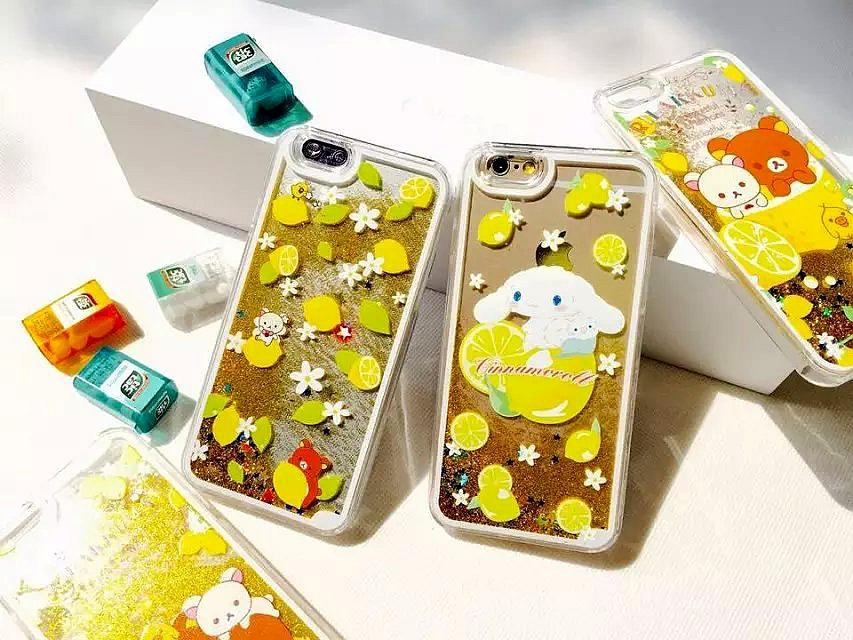 Cute Cartoon Rilakkuma Bear Lemon Pudding Dog Printing Clear Gold Quicksand Liquid Capa Fundas Case For Iphone 6 6S 6Plus 6splus(China (Mainland))