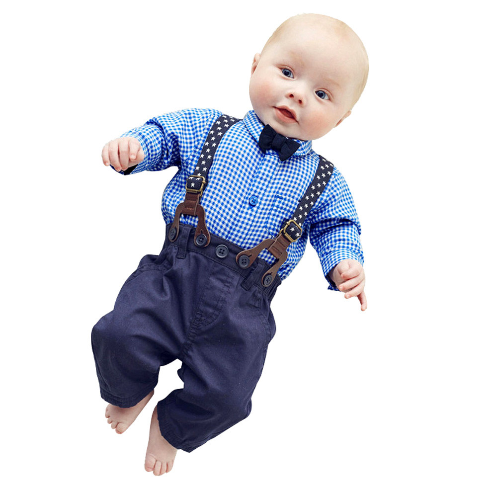 European Hot Baby Boys Cloth set Pants Sets Plaid T-shirt Top Bib Pants Overall Outfits England Preppy Style(China (Mainland))