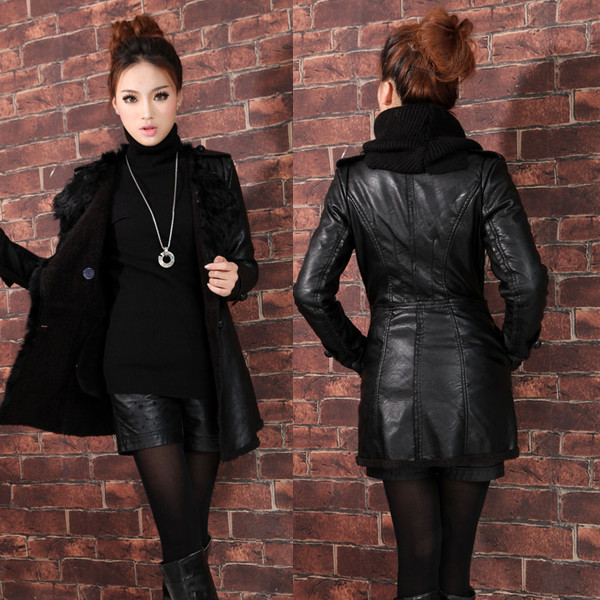 2013 winter new plus size long slim fur collar leather jacket female padded velvet double breasted warm leather overcoat H1722Одежда и ак�е��уары<br><br><br>Aliexpress
