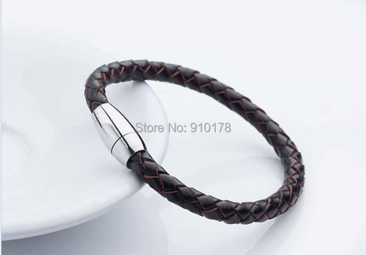 retail sale stainless steel weave leather magnet clasp man bracelet titanium bangle wristband fashion men jewelry - selltoworld2012 store