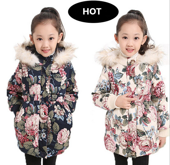 2015 Children winter thick keep warm jacket girls baby princess long collars hooded cotton coat casaco infantil parkas - SAR store