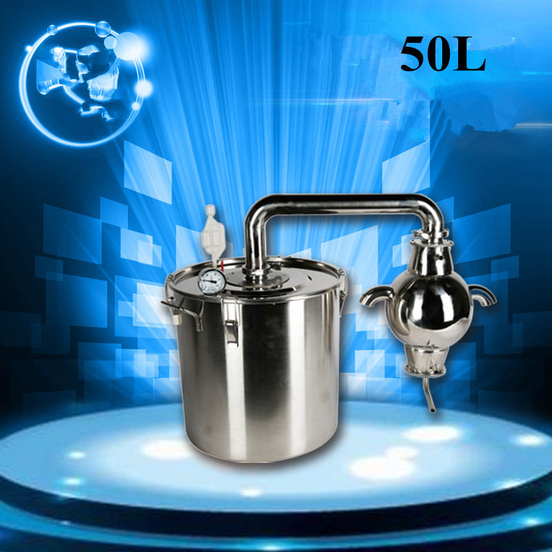 2016 New 50L Water Alcohol Distiller 304 Stainless Steel Home Brew Kit Distiller Wine Making Essential Oil Boiler(China (Mainland))