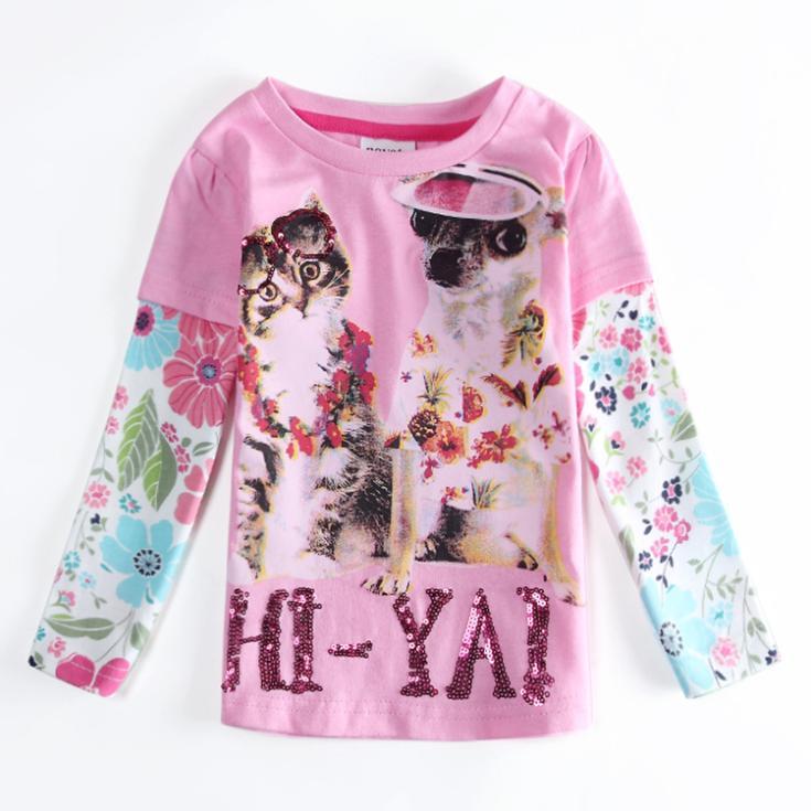 Girls Clothes NOVA Children Girls Kids T-shirt Cartoon Cat & Dog Printed Letter Sequined T shirt Kids Autumn Shirts F5526(China (Mainland))