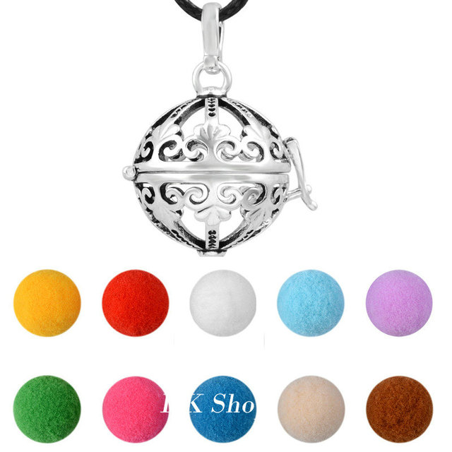 Mix Design Antique Silver Aromatherapy Locket Cage Pendant Color Essential Oil Craft Ball Angel Caller Wax Leather Necklace SHE