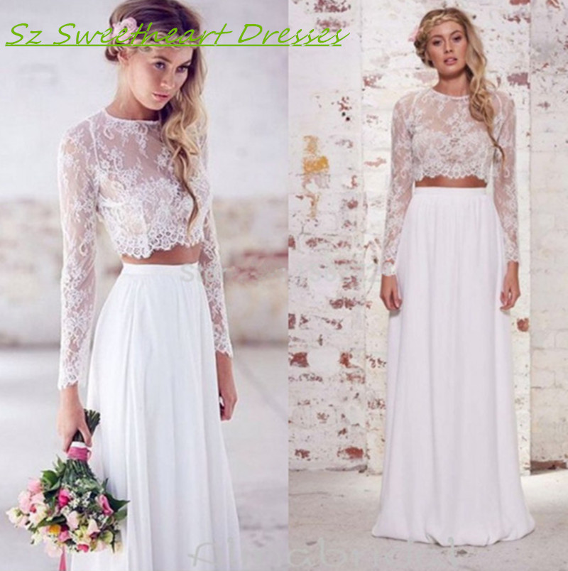 Boho two piece beach wedding dress women long sleeves for Summer wedding dresses with sleeves