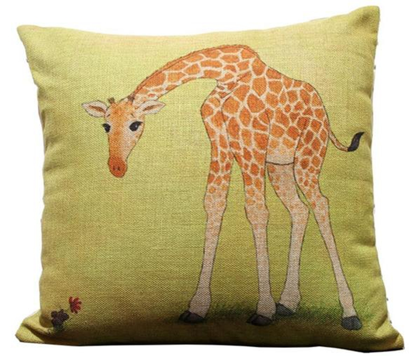 Baby Giraffe Throw Pillow Case Decor Cushion Covers Square 18*18 Inch Beige Cotton Blend Linen free shipping(China (Mainland))
