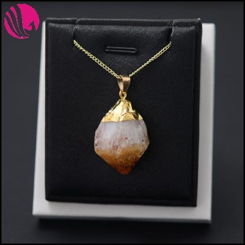 Brand Genuine Rough Topaz Crystal Pendant statement Necklace Elegant Natural Stone Collar For Women Piedras Preciosas Jewelry(China (Mainland))