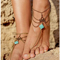 Boho Ethnic Turquoise Silver Anklet Chic Tassel Foot Chain Ankle Bracelet Body Jewelry Anklets For Women