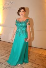 2015 - gaine Scoop manches courtes à Brides - mère - robes - pour - mariages - robe - Mae - da - Noiva - Longo - vert - Appliqued mère robe(China (Mainland))