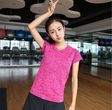 Women GYM sport Elastic Breathable Fitness Absorbent Vest Ladies fast drying running training t-shirts tshirts Space dyed sleeve(China (Mainland))