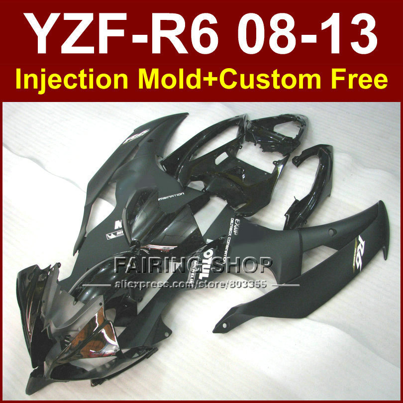 Matte black Motorcycle Injection molding fairing kits for YAMAHA YZFR6 2008 2009 2011 2013 ABS fairings kit YZF R6 08-13 YZF1000(China (Mainland))
