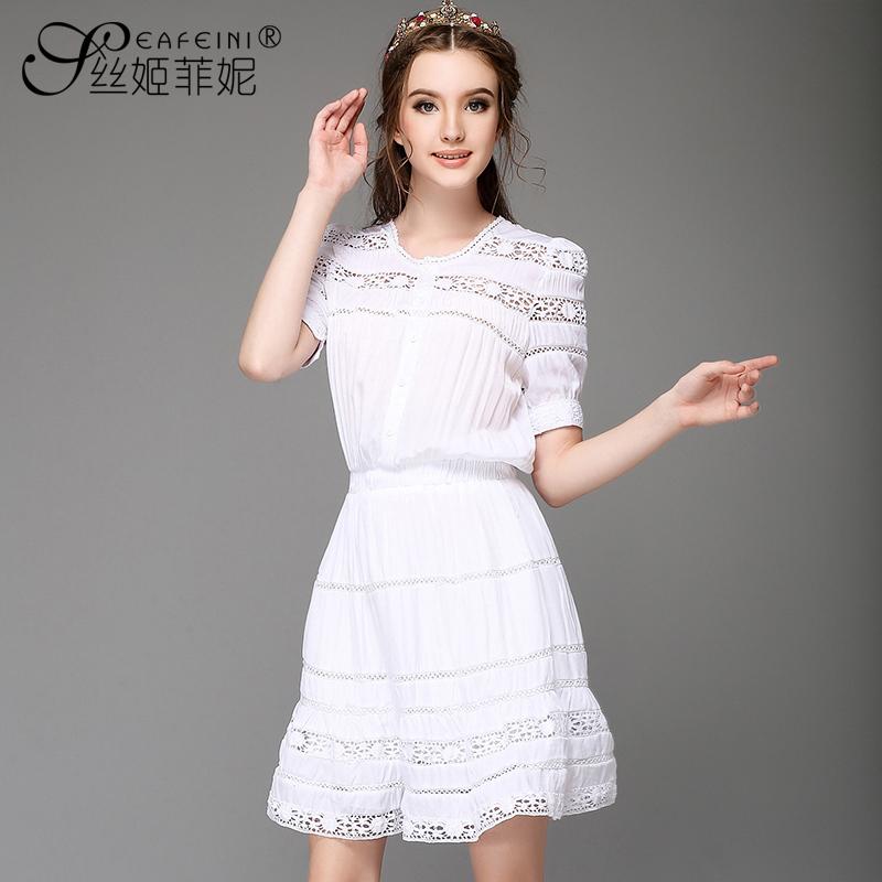 Mm plus size clothing summer short-sleeve cutout crotch one-piece dress slim sweet princess sheds(China (Mainland))
