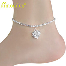 Best Deal Diomedes Women Beach Anklets Heart Crystal Rhinestone Ankle Chains Foot Jewelry Anklets Foot Chain Jewelry Gift 1PC(China (Mainland))