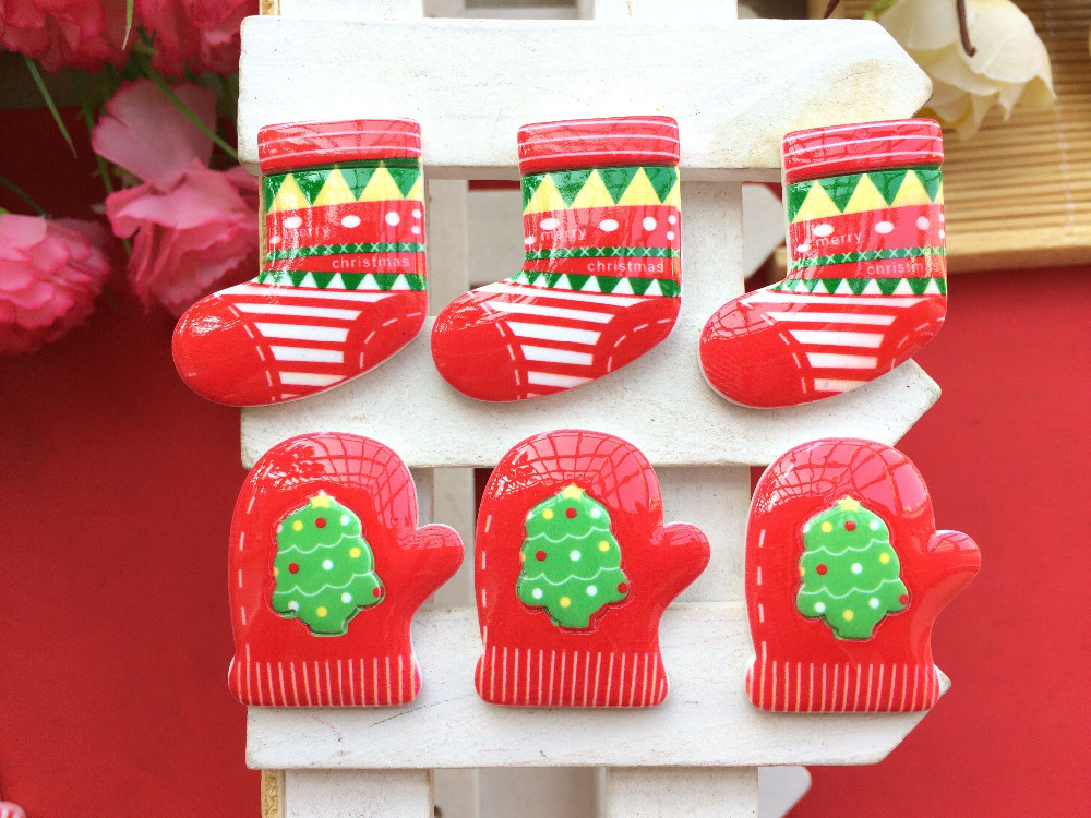 new Free shipping 30PCS/lot Christmas decorations kawaii resin gloves socks Flatback convex form of mobile phone DIY(China (Mainland))