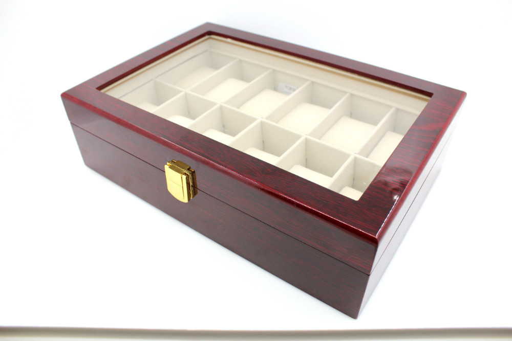 Wooden Watch Display Box Grid Mens Wooden Watch Box