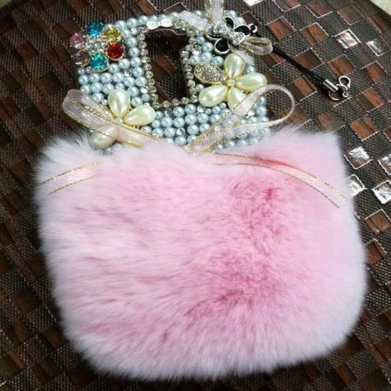 3D Rhinestone Fur Hotfix Phone Case For HTC Butterfly S 9060 901e Jewelry Half Bunny Rabbit Fur Trim Coque Women Coque Fundas(China (Mainland))