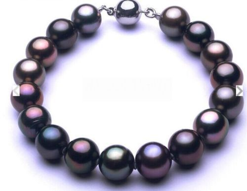 Free shipping@@@@@  Huge 7.5-810-11mm Natural Tahitian genuine black redish round pearl bracelet <br><br>Aliexpress