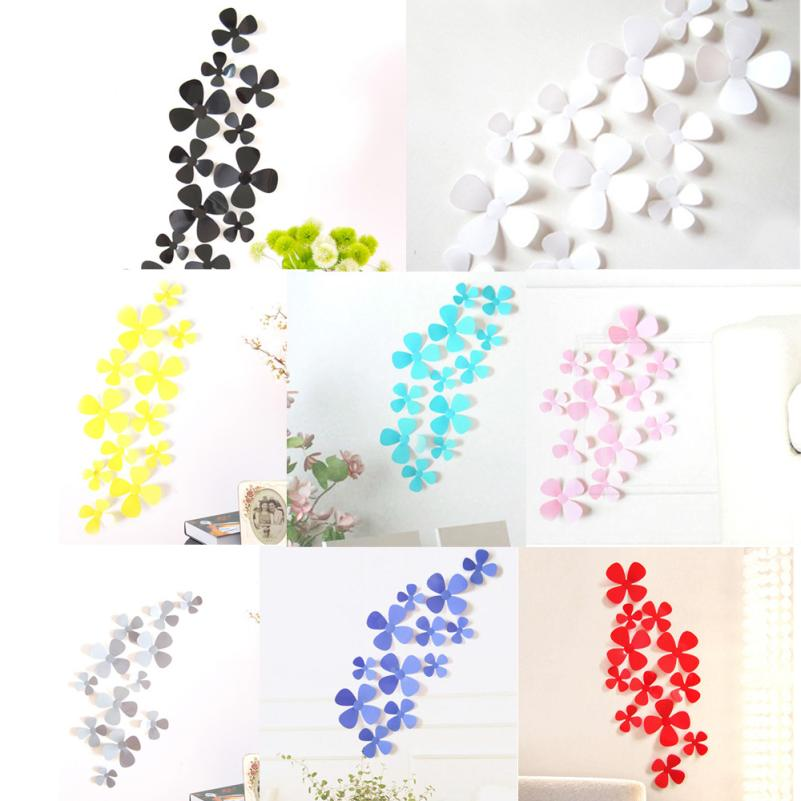New Qualified 12Pcs 3D Acrylic Clover Wall Stickers for Home Decoration dec19(China (Mainland))
