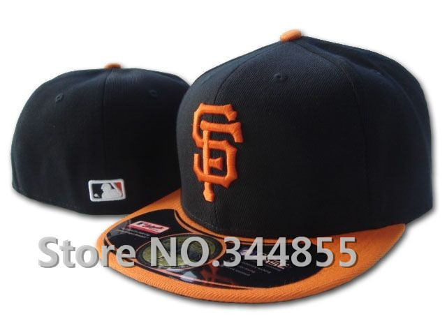 Classic On Field San Francisco Giants Fitted Hats Sport Baseball Embroidered Orange SF Black Color Flat Full Closed Caps(China (Mainland))