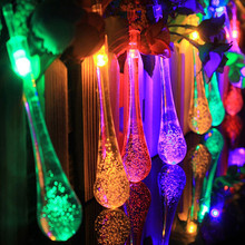 Solar Outdoor String Lights,20 LED Water Drop Solar String Fairy Waterproof Lights Christmas Lights Solar Powered String lights(China (Mainland))