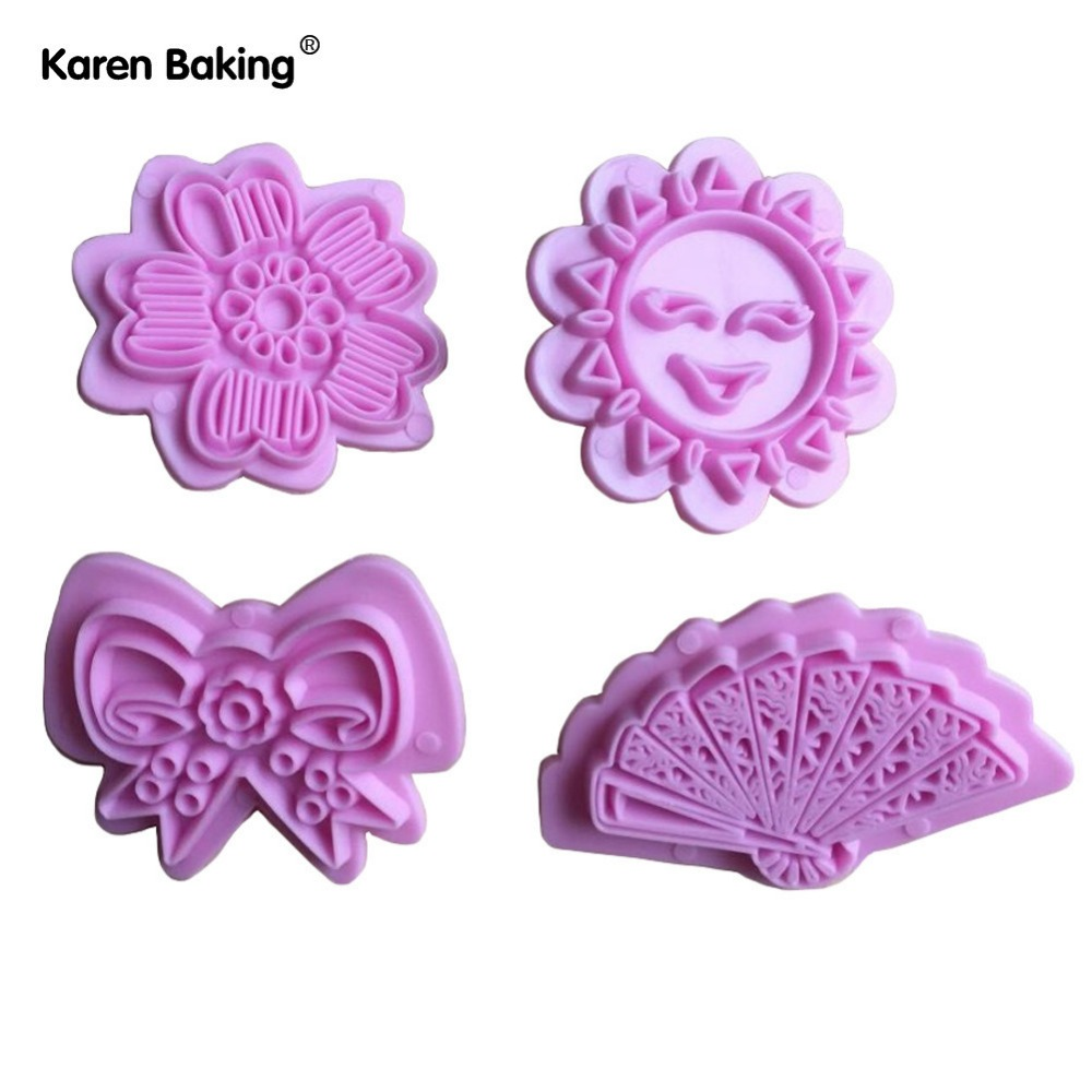 1 Set Butterfly, Sunflower, Sun, Fan Shape Fondant Cake Cookie Cutter Plunger Cake Decorating Tools-A237(China (Mainland))