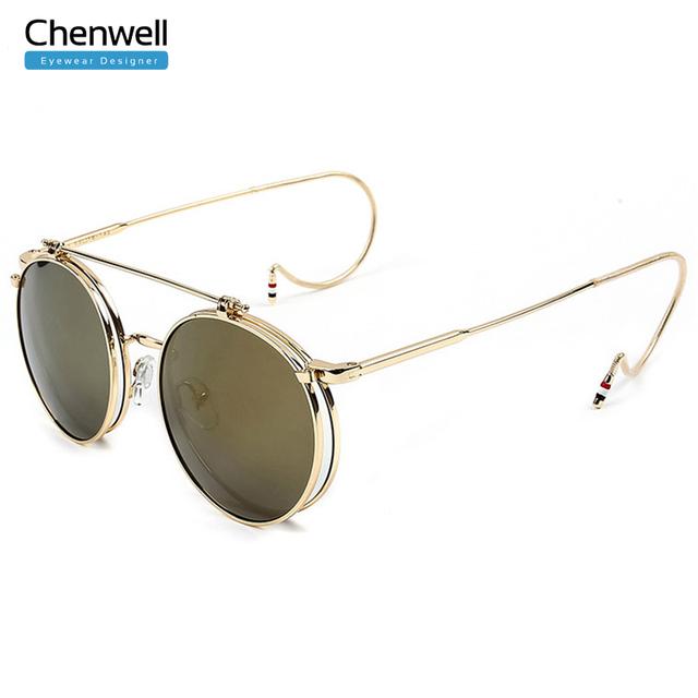 Новый стимпанк круглый солнцезащитные очки унисекс металла старинные плоским золото ...