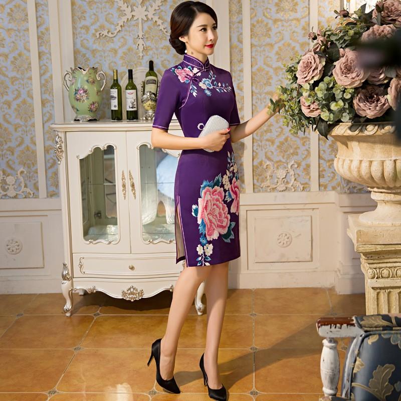 ยุโรปวินเทจของผู้หญิงขนสัตว์สั้นCheongsamจีนแฟชั่นสไตล์การแต่งกายที่สวยงามQipaoขนาดSml XL XXL XXXL F101022 ถูก