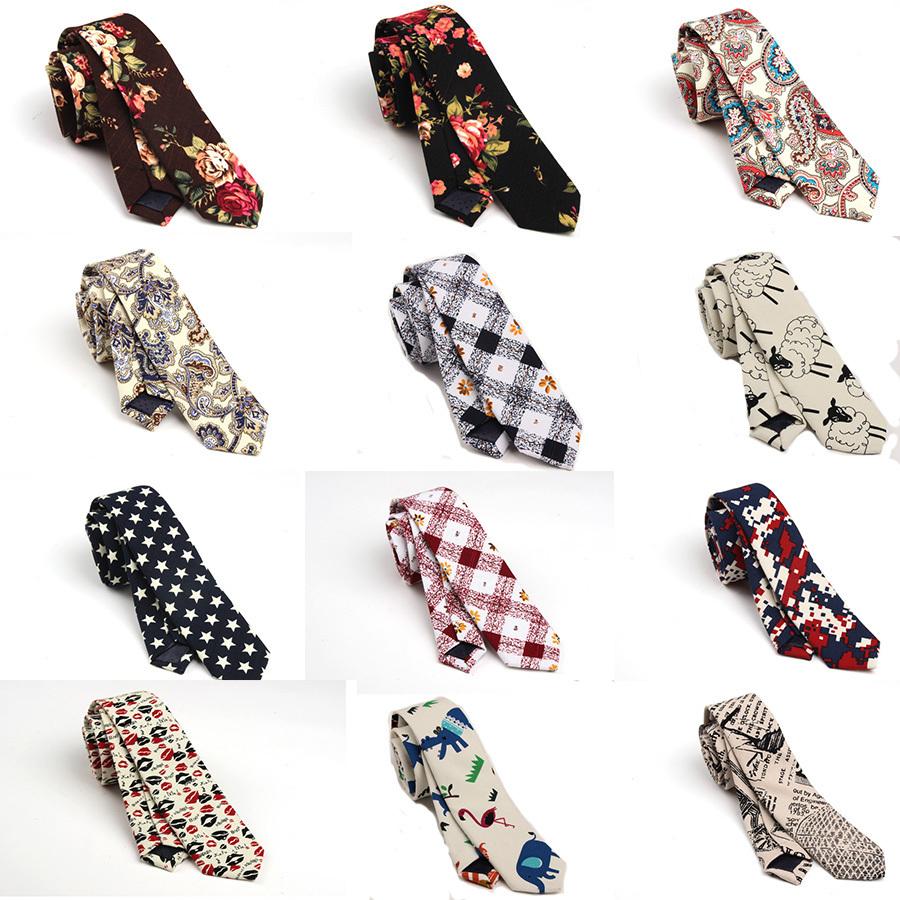 2015 Fashion Cotton Men's Necktie Printed Floral Ties for Men Women Narrow Gravata of Floreale Skinny Casual Cravat(China (Mainland))