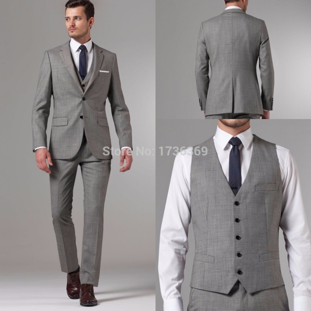 2015 Terno Gray Men Suits Wedding Suit For Men Blazer Masculino Groom Tuxedo Slim Fit T Jacket ...