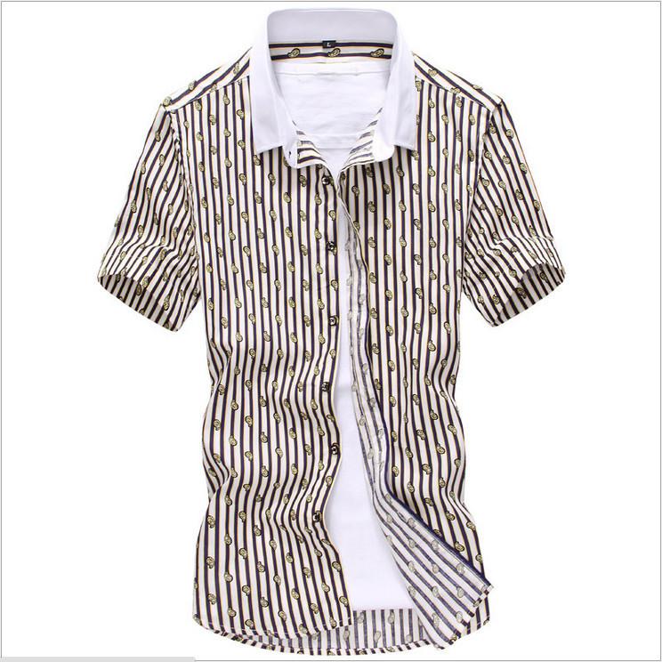 Shirt 2015 striped shirt men short sleeve casual men shirt for Mens short sleeve patterned shirts