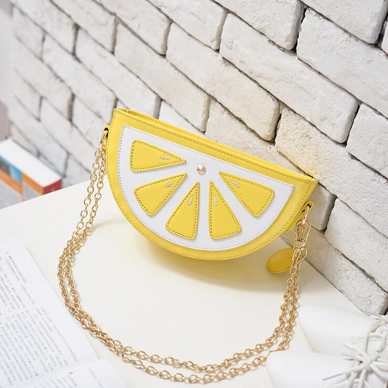 2016 New Arrival Women Mini Cute Fruit Packet Chain Shoulder Messenger Bag Orange Watermelon Crossbody Bags Satchel Purse(China (Mainland))
