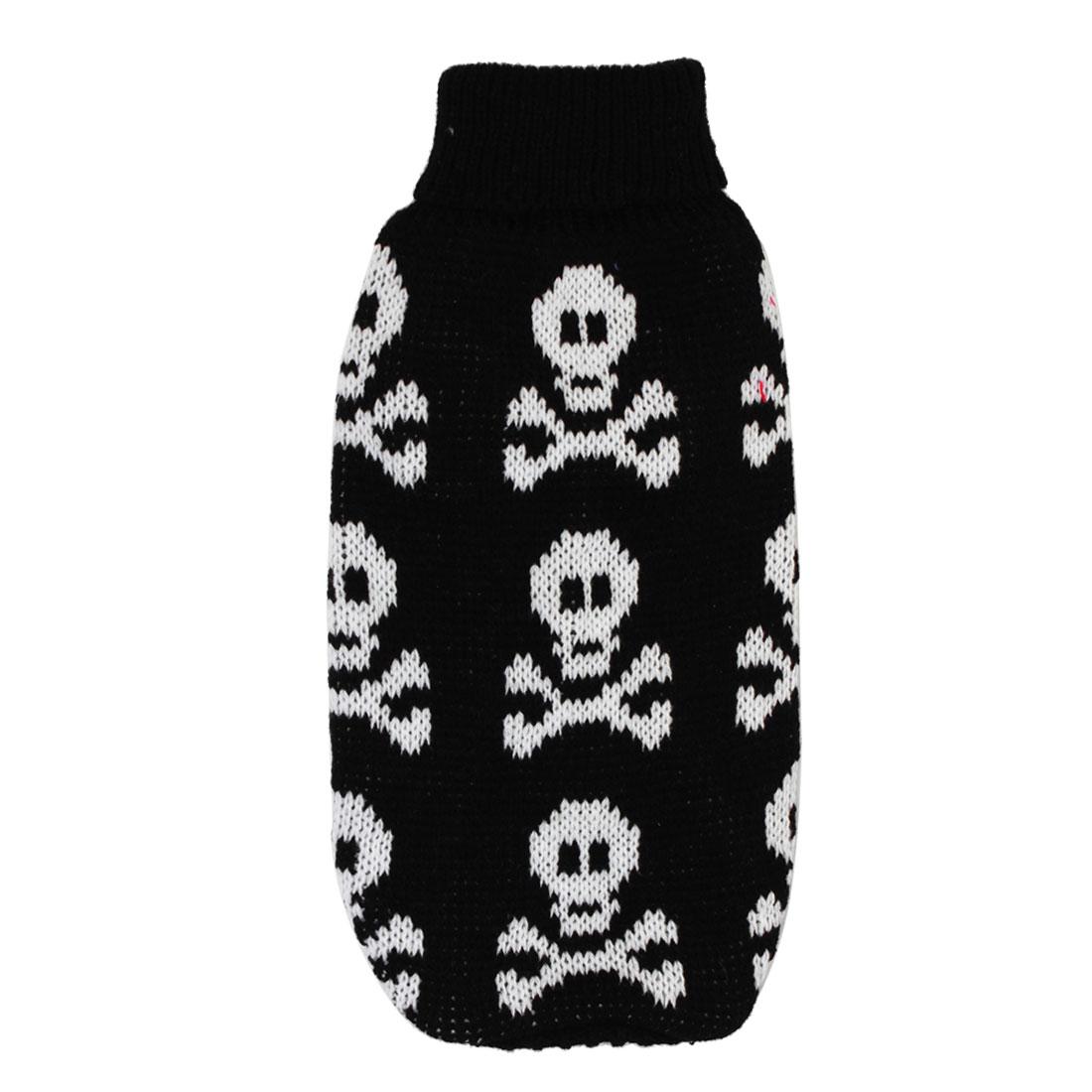 Pet Dog Chihuahua Skull Print Ribbed Cuff Apparel Coat Sweater Black White XS(China (Mainland))