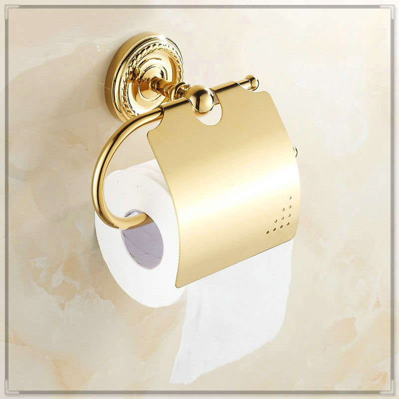 Golden copper toilet paper holder paper rack gold plated towel rack hands free washbasin in - Gold toilet paper holder stand ...
