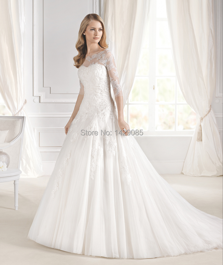Aliexpress Buy Abito Sposaback 2014 New Sexy Cap Sleeve Wedding Dress A Line Bridal Gown