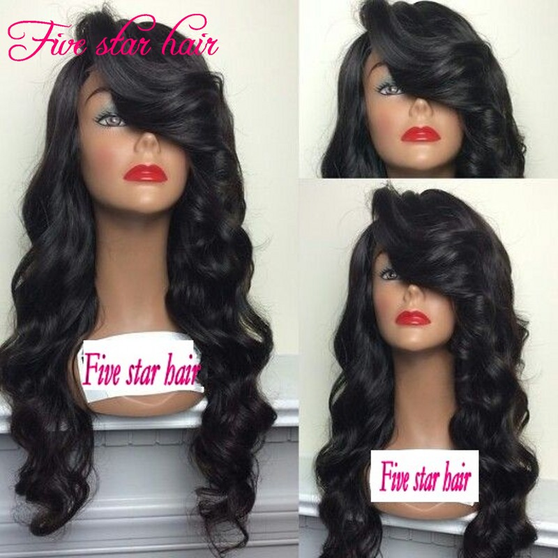 150 density Full Lace wig with Side Part Bangs Right Part beautiful Wavy Lace Front Brazilian wigs Glueless for black women