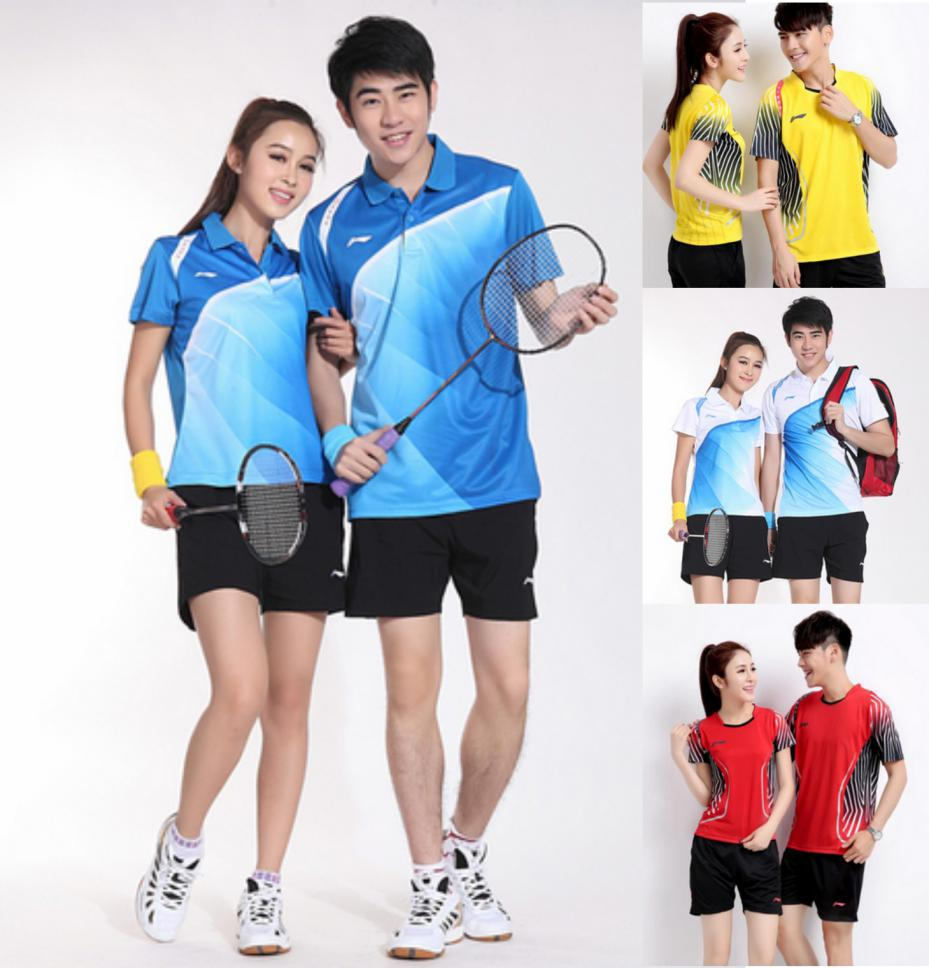 2015 New Arrival Badminton Shirt And Short Polyester Adult Unisex Badminton Clothing Sets Couples Men Women Sport Suit(China (Mainland))