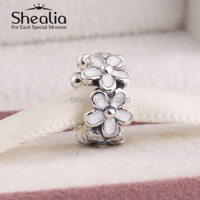 2015 весенняя коллекция аутентичные стерлингового серебра 925 дейзи прокладка очарование белой эмалью для женщин браслеты diy изготовление ювелирных изделий