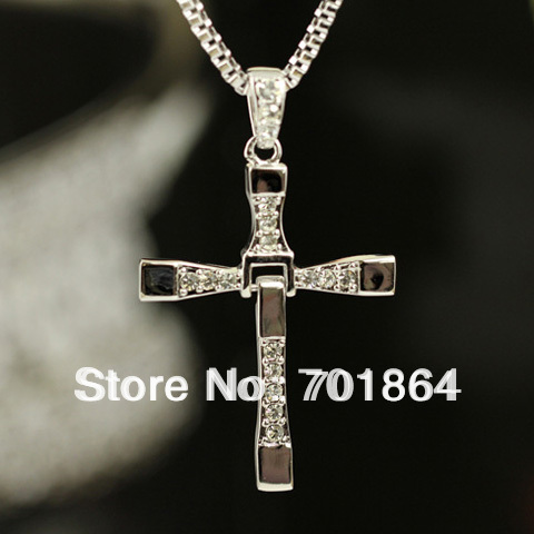 Free Shipping - Fashion Jewelry The Fast and The Furious Toretto Men Cool Classic Style CROSS Necklace Full Stones(China (Mainland))