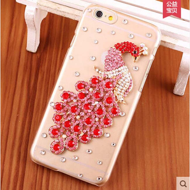 Rhinestone Peacock Case For Apple iphone 5 5s iPhone 4 4s New Hot Diamond Hard Back Mobile phone Case Cover Protective Shell(China (Mainland))