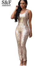 Newest Macacao Feminino 2016 Charming Woman Champagne/Black Gold Geometric Sequin Jumpsuit LC60895 Cheap Fashion Playsuit(China (Mainland))