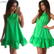 Buy Vestidos Sexy Ruffles Women's Dress 2017 Summer Sleeveless Casual Line Bodycon Dresses Party Plus Size Short Mini Dress for $5.69 in AliExpress store