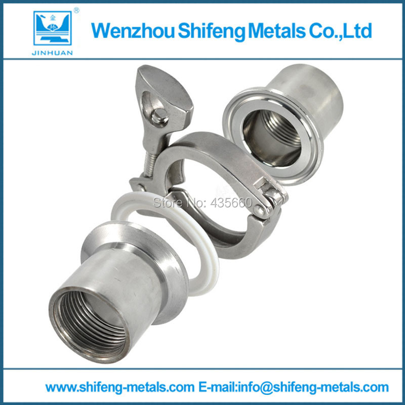 "NEW style2 Pcs 1/2"" DN15 Sanitary Female Threaded Ferrule Pipe Fittings+Tri Clamp+Gasket Stainless Steel SS316(China (Mainland))"