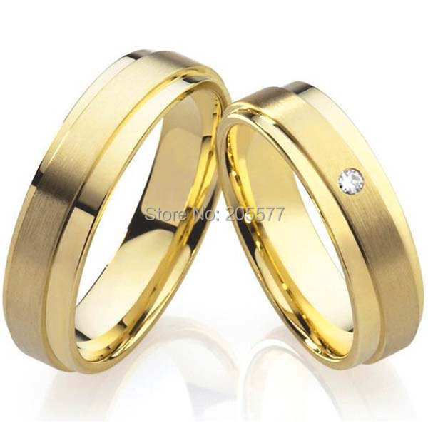 2015 unique 18K yellow Gold Plating health titanium Fashion jewelry mens and womens wedding bands promise Rings sets for couples